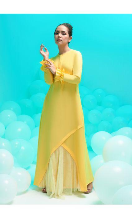 amora dress empire yellow