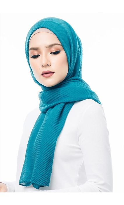 Pleated Wide Shawl Teal