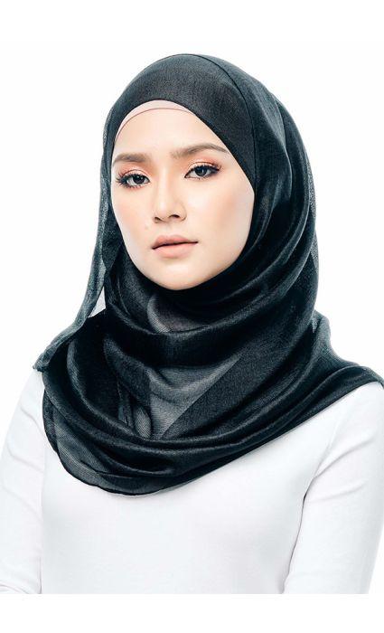 Satin Silk Shawl Black
