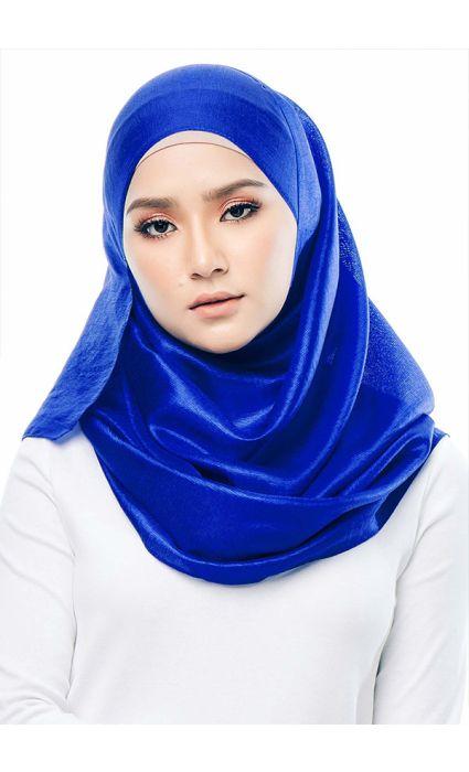 Satin Silk Shawl Electric Blue