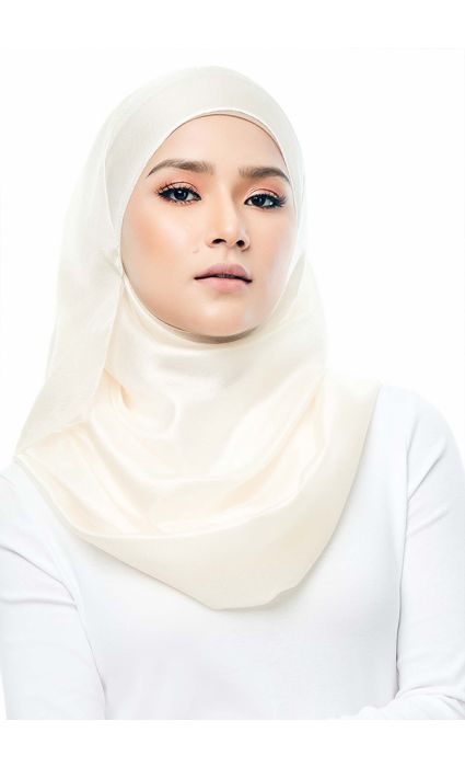 Satin Silk Shawl Pure White