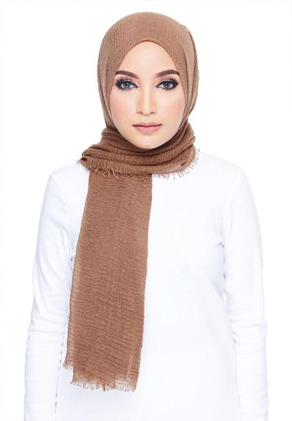 Crumple Wide Shawl Toasted Brown