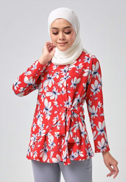Sash Tie Blouse Fiery Red